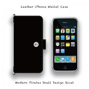 【 Leather iPhone Wallet Case / Modern Pirates Skull Design Rivet 】( Magnet Type )
