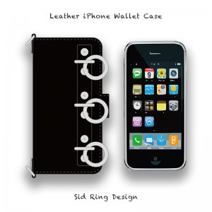 【 Leather iPhone Wallet Case / Sid Ring Design 】( Magnet Type )