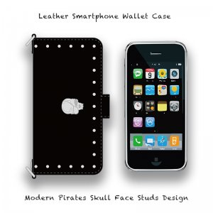 【 Leather Smartphone Wallet Case / Modern Pirates Skull Face Studs Design 】( Magnet Type )