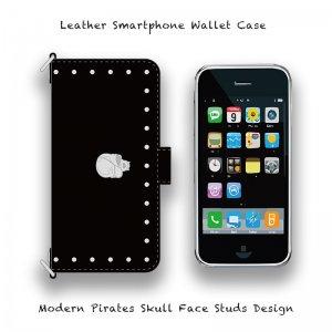 【 Leather Smartphone Wallet Case / Modern Pirates Skull Face Studs Design 】( Magnet Type )