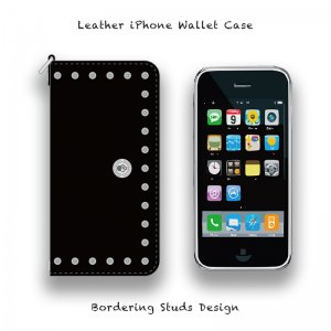 【 Leather iPhone Wallet Case / Bordering Studs Design 】