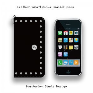 【 Leather Smartphone Wallet Case /  Bordering Studs Design 】