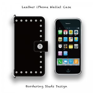 【 Leather iPhone Wallet Case / Bordering Studs Design 】( Hook Type )
