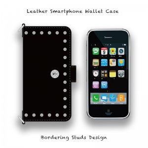 【 Leather Smartphone Wallet Case /  Bordering Studs Design 】( Magnet Type )