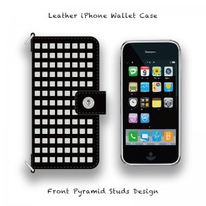 【 Leather iPhone Wallet Case / Front Pyramid Studs Design 】( Hook Type )