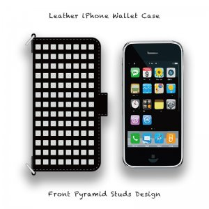 【 Leather iPhone Wallet Case / Front Pyramid Studs Design 】( Magnet Type )