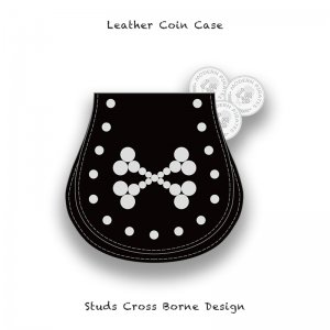 【 Leather Coin Case  / Studs Cross Borne Design 】