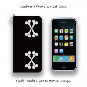 【 Leather iPhone Wallet Case / Studs Double Cross Borne Design 】