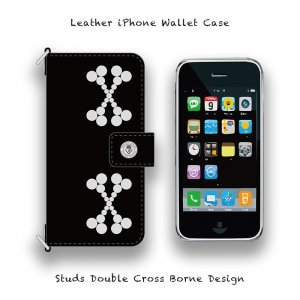 【 Leather iPhone Wallet Case /  Studs Double Cross Borne Design 】( Hook Type )