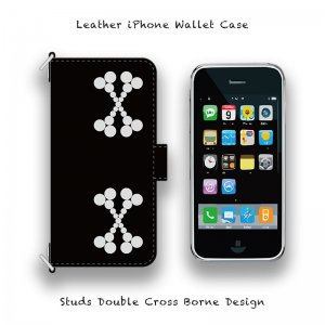 【 Leather iPhone Wallet Case / Studs Double Cross Borne Design 】( Magnet Type )