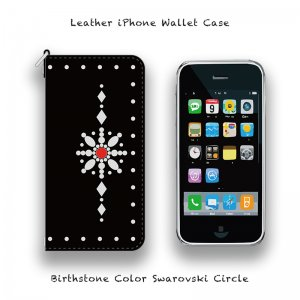 【 Leather iPhone Wallet Case / Birthstone Color Swarovski Circle Design 】