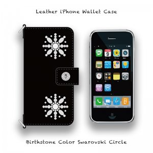 【 Leather iPhone Wallet Case / Birthstone Color Swarovski Circle Design 】( Hook Type )