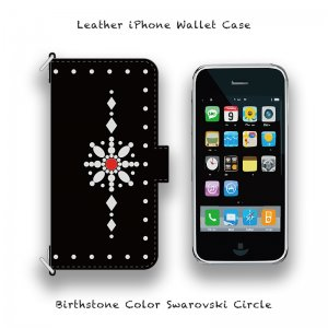 【 Leather iPhone Wallet Case /  Birthstone Color Swarovski Circle Design 】( Magnet Type )