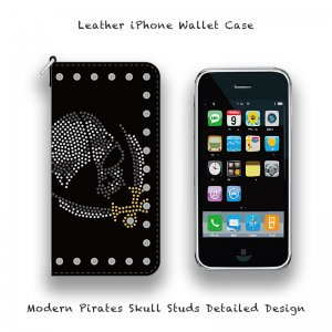 【 Leather iPhone Wallet Case / Modern Pirates Skull Studs Detailed Design 】