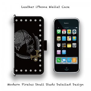 【 Leather iPhone Wallet Case / Modern Pirates Skull Studs Detailed Design 】( Hook Type )