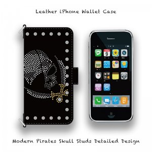 【 Leather iPhone Wallet Case / Modern Pirates Skull Studs Detailed Design 】( Magnet Type )