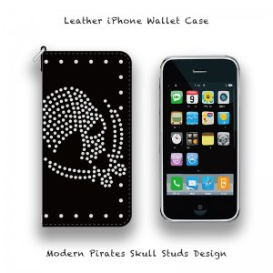 【 Leather iPhone Wallet Case / Modern Pirates Skull Studs Design 】