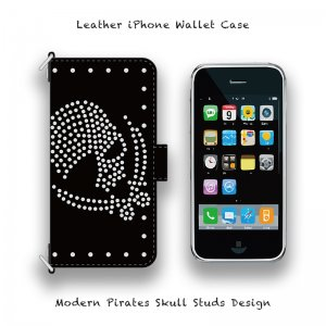 【 Leather iPhone Wallet Case / Modern Pirates Skull Studs Design 】( Magnet Type )