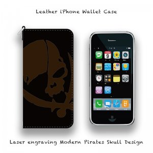 【 Leather iPhone Wallet Case / Laser Engraving Modern Pirates Skull Design 】