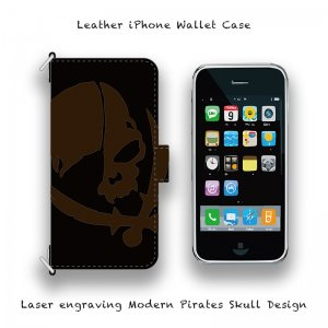 【 Leather iPhone Wallet Case / Laser Engraving Modern Pirates Skull Design 】( Hook Type )