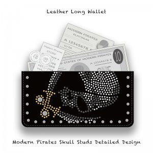 【 Leather Long Wallet /  Modern Pirates Skull Studs Detailed Design 】