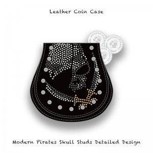 【 Leather Coin Case  / Modern Pirates Skull Studs Detailed Design 】
