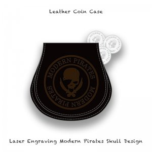 【 Leather Coin Case  / Laser Engraving Modern Pirates Skull Design 】