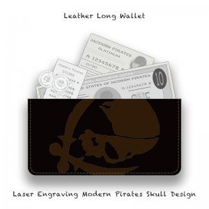 <img class='new_mark_img1' src='//img.shop-pro.jp/img/new/icons13.gif' style='border:none;display:inline;margin:0px;padding:0px;width:auto;' />【  Leather Long Wallet / Laser Engraving Modern Pirates Skull Design 】