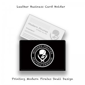 【 Leather Business Card Holder / Printing Modern Pirates Skull Design 】