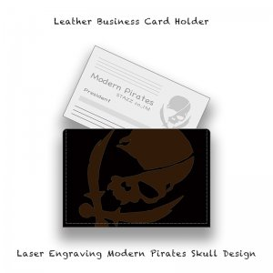 【 Leather Business Card Holder / Laser Engraving Modern Pirates Skull Design 】