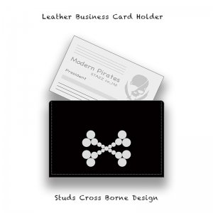 【 Leather Business Card Holder / Studs Cross Borne Design 】