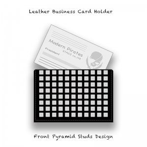 【 Leather Business Card Holder / Front Pyramid Studs Design 】