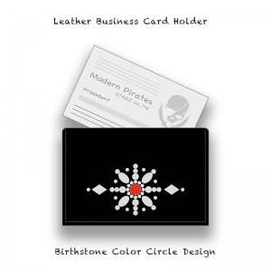 【 Leather Business Card Holder / Birthstone Color Swarovski Circle Design 】