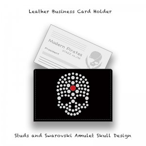 【 Leather Business Card Case / Studs and Swarovski Amulet Skull Design 】