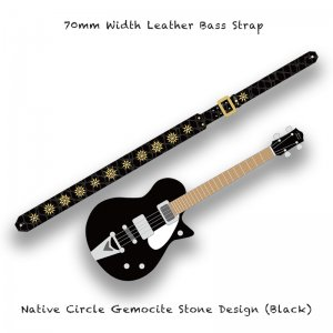 【 70mm Width Leather Bass Strap / Native Circle Gemocite Stone Design (Black) 】( Ju-Ken Model )