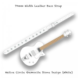 【 70mm Width Leather Bass Strap / Native Circle Gemocite Stone Design (White) 】( Ju-Ken Model )