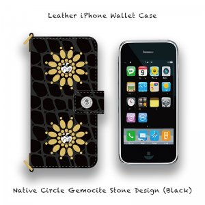 【 Leather iPhone Wallet Case / Native Circle Gemocite Stone Design (Black) 】( Ju-Ken Model )