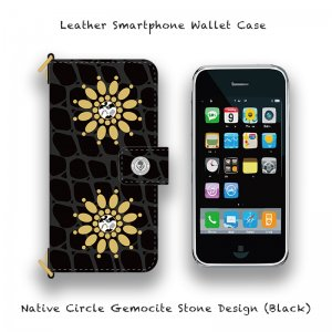 <img class='new_mark_img1' src='//img.shop-pro.jp/img/new/icons13.gif' style='border:none;display:inline;margin:0px;padding:0px;width:auto;' />【 Leather Smartphone Wallet Case / Native Circle Gemocite Stone Design (Black) 】( Ju-Ken Model )