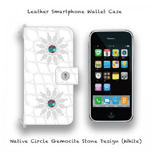 【 Leather Smartphone Wallet Case / Native Circle Gemocite Stone Design (White) 】( Ju-Ken Model )