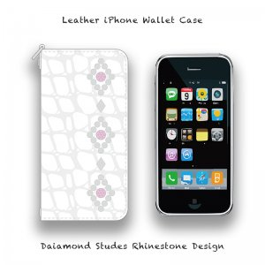 【 Leather iPhone Wallet Case / Diamond Studs Design 】( Takayuki Murata Model )
