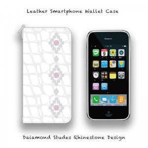 【 Leather Smartphone Wallet Case / Diamond Studs Design 】( Takayuki Murata Model )