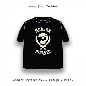【 Loose Size T-Shirt / Modern Pirates Skull Design 】