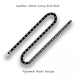 【 Leather Chain Long End Belt / Pyramid Studs Design 】