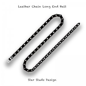 【 Leather Chain Long End Belt /  Star Studs Design 】