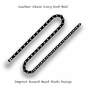 【 Leather Chain Long End Belt /  Imprint Round Head Studs Design 】