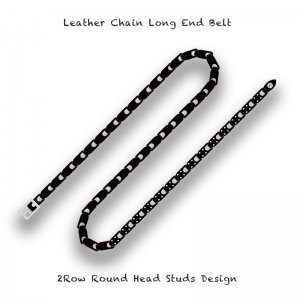 【 Leather Chain Long End Belt /  2Row Round Head Studs Design 】