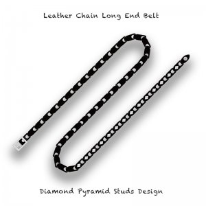 【 Leather Chain Long End Belt / Diamond Pyramid Studs Design 】