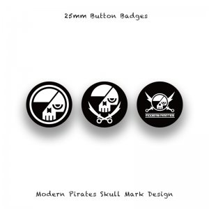 <img class='new_mark_img1' src='//img.shop-pro.jp/img/new/icons13.gif' style='border:none;display:inline;margin:0px;padding:0px;width:auto;' />【 25mm Button Badges / Modern Pirates Skull Mark Design 】*3 Pieces Set*