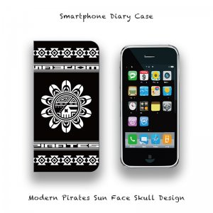 <img class='new_mark_img1' src='//img.shop-pro.jp/img/new/icons13.gif' style='border:none;display:inline;margin:0px;padding:0px;width:auto;' />【 Smartphone Diary Case / Modern Pirates Sun Face Skull Design 】