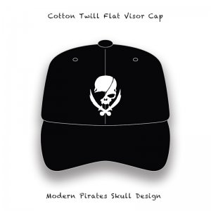 【 Cotton Twill Flat Visor Cap / Modern Pirates Skull Embroidery Design 】
